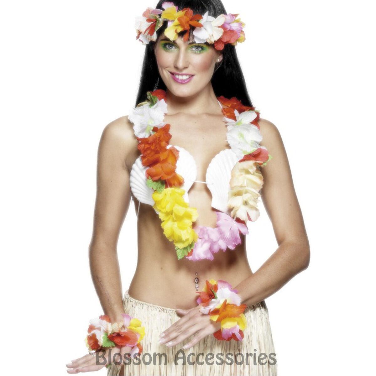 A483 Hawaiian Luau Beach Tropical Costume Accessory Garland Headpiece Wrist Cuff