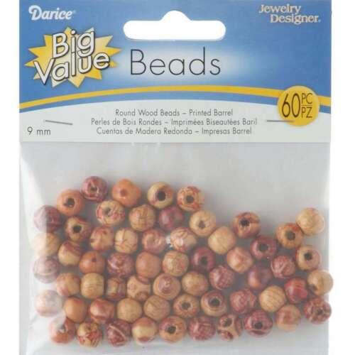 Wood Barrel Beads 9mm 60//Pkg Printed 652695476143