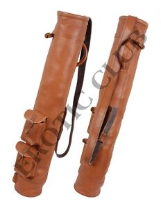 NEW-REAL-LEATHER-GOLF-BAG-CLUB-amp-BALL-TWO-POCKETS-HANDMADE-FREE-SHIPPING
