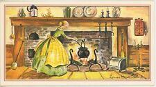 VINTAGE GIRL APRON RAISIN OATMEAL COOKIE RECIPE PRINT 1 VEGETABLE GARDENS CARD