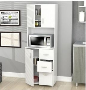 Details about Kitchen Storage Cabinet Microwave Countertop Drawers ...