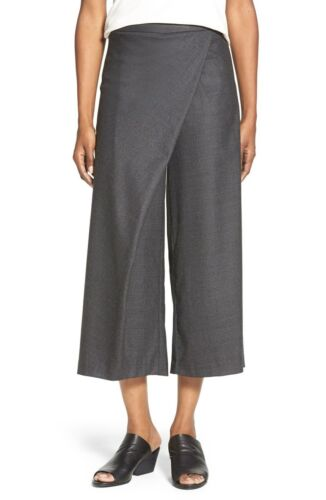 M L,XL NWT Eileen Fisher Sarong Pant Stretch Flannel Twill Charcoal Gray $238