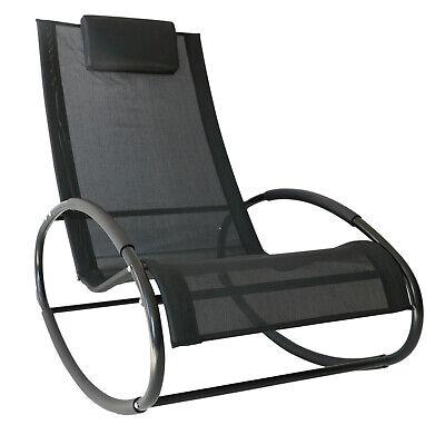 Patio Rocking Lounge Chair Orbital Zero Gravity Chaise w/ Pillow Black