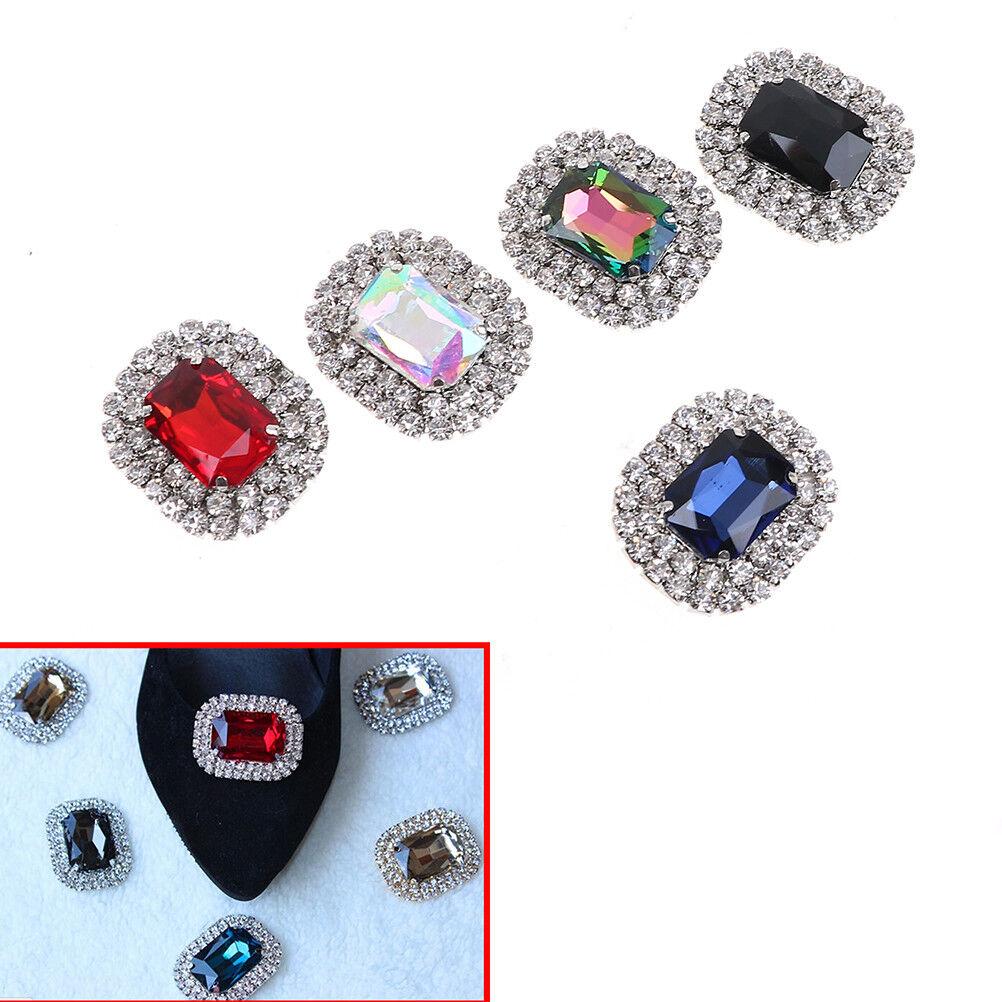 1PC women crystal rhinestone metal shoes clips bridal shoe charms decor HGB J AJ