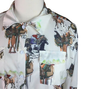 Misslook-Womens-Tunic-Top-Horse-Racing-Long-Sleeve-Button-Collar-Blouse-Size-3XL