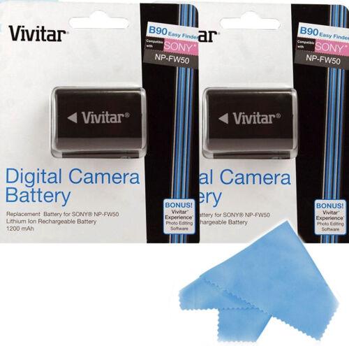 Vivitar 2X Batería NP-FW50 Para Sony A7 A7R NEX F3 7 II 6 5R 5T 5N 3 3K 3N C3 C5