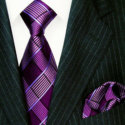 8451301 LORENZO CANA Necktie and Handkerchief Set 100% Silk purple violet check