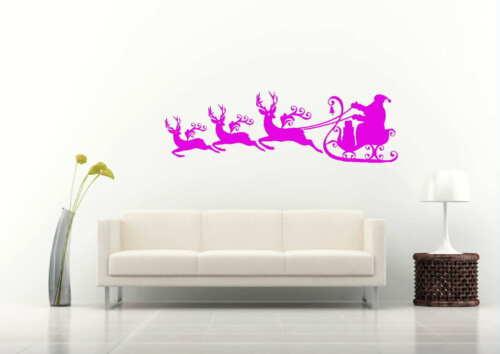Santa On His Sleigh Reindeer Wall Art Decal Sticker Transfer SE7