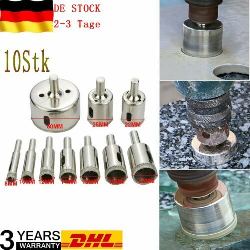 10 tlg Set Glasbohrer Fliesenbohrer Lochsäge Kernbohrer Diamantbohrer Hohlbohrer