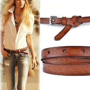 Ladies-Slim-Fashion-Waist-Belt-Dress-Access-Thin-Shiny-Skinny-Cow-Leather-Brown