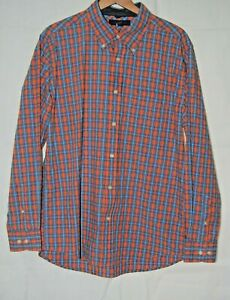 c2d9907c Image is loading Vintage-Tommy-Hilfiger-Mens-Shirt-Orange-Blue-Plaid-