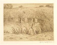 HANS RICHARD VON VOLKMANN - Der Entenpfuhl - Radierung 1908