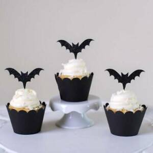 Halloween-Cupcake-Topper-Black-Honeycomb-Bat-Cake-Topper-Party-Decor-W