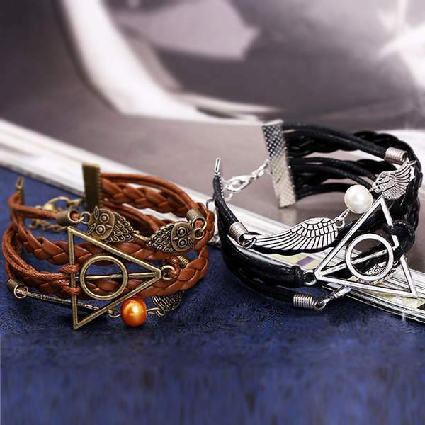 New Harry Potter Deathly Hollows Owl Angel Wing Charms Leather Bracelet