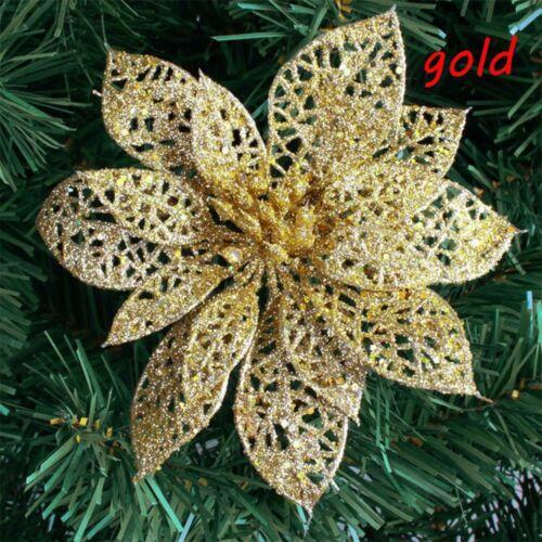 "10pcs 6/"" Glitter Hollow Wedding Party Christmas Flowers Xmas Tree Decorations."