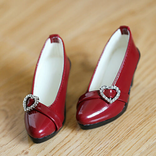 1//3SD16//GR BJD Shoes High Heels Shining Diamond Heart Deco Pure Bright Red//Black
