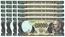 ECUADOR 20000 20,000 S 12-7-1999 UNC 20 PCS CONSECUTIVE LOT - AK - P.129