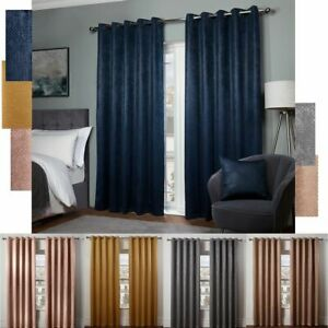 Pair of EYELET Ring Top Woven Chunky Knit Thermal BLACKOUT LINED Curtains