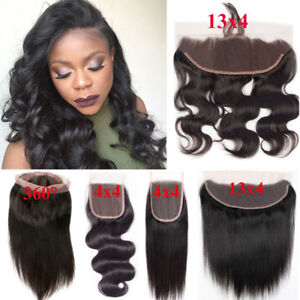 Pre-Plucked-360-Lace-Frontal-Closure-Peruvian-Virgin-Human-Hair-Curly-Wavy-13x4