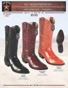 Los-Altos-Men-039-s-Eel-Cowboy-Round-Toe-Western-Boots