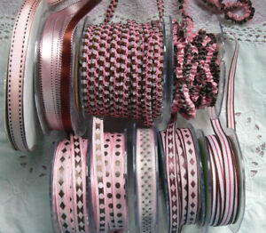 PINK-amp-BROWN-Polyester-10-13mm-Wide-2-3-amp-5-Metres-9-Design-Style-Choice