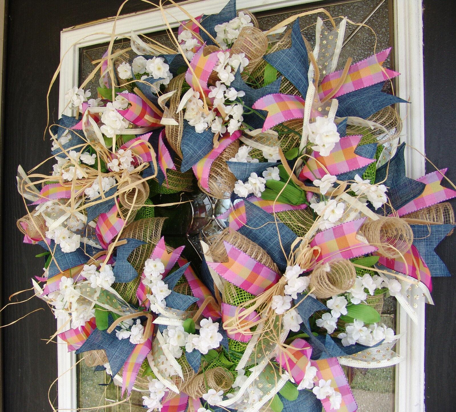 Country Farmhouse Spring Deco Mesh Front Door Wreath, Denim Floral Easter Decor