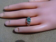 Estate Natural Emerald & Diamond 10K Yellow Gold Infinity Ring Sz 6