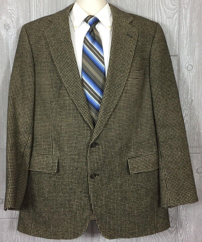 Jos A Bank  Herren Houndstooth Camel Hair Beige Sportcoat 46 Long (tt)