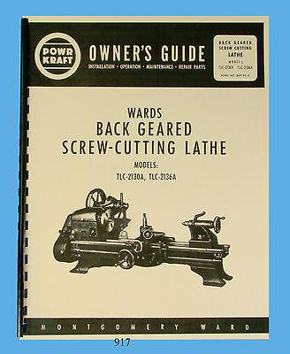 Wards Powr-Kraft Lathe Models TLC-2130A & TLC-2136A Owners & Parts Manual  #917 | eBay