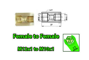 Brake-Line-Pipe-Brass-Inline-Female-Fitting-Connector-Coupler-M12x1-to-M10x1