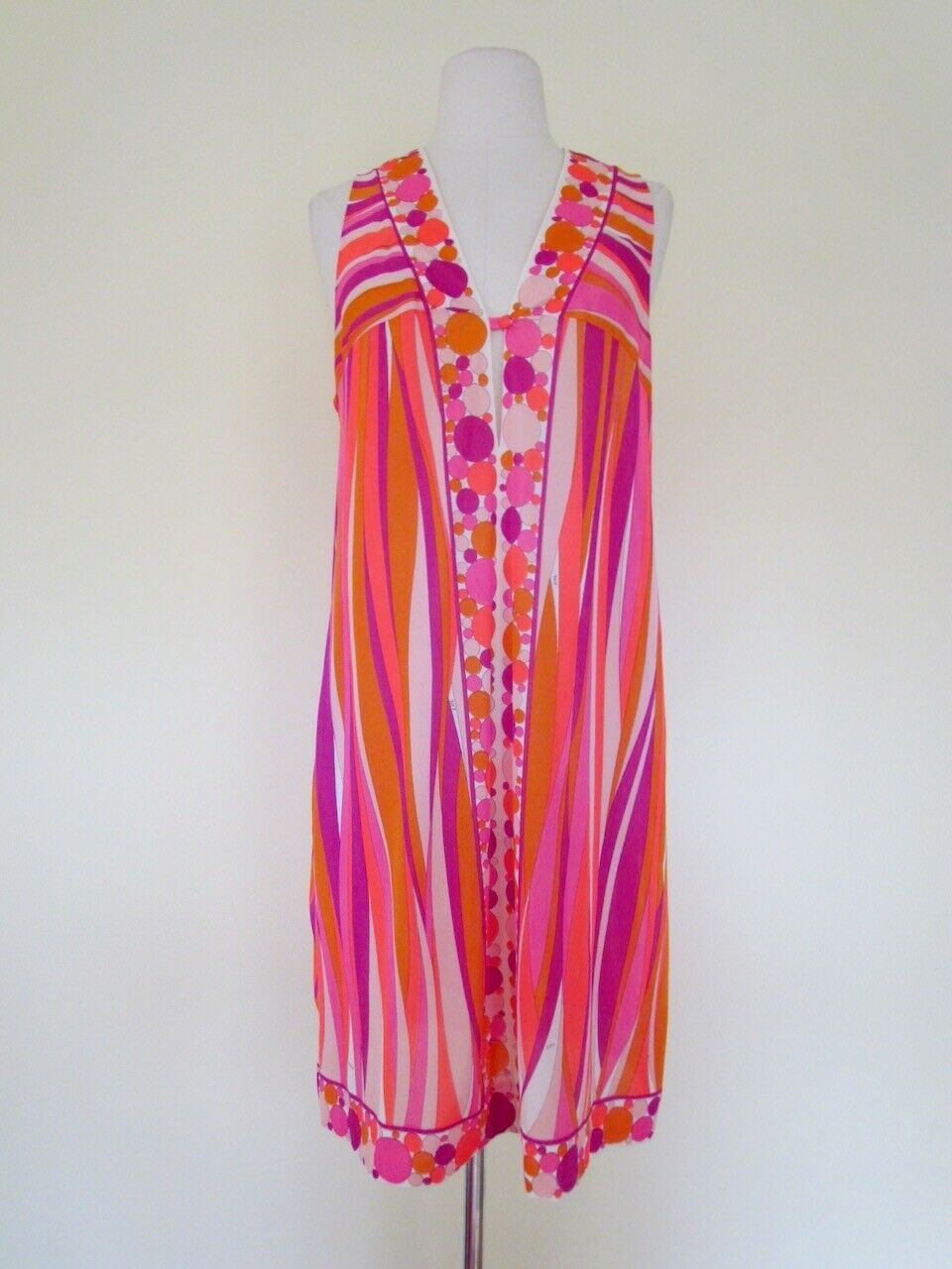 Vintage 60s' Emilio Pucci Nightgown Robe Set Pink Coral Orange Form Fit Rogers