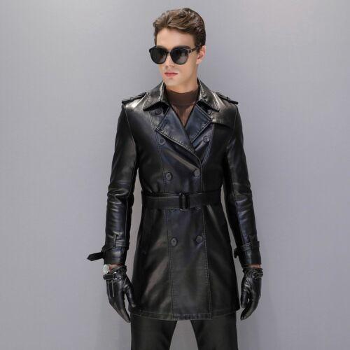 Homme PU Cuir Trench Coat Long Jacket pardessus ceinture Slim Outwear D944