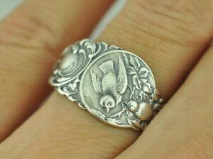 Beautiful-925-Sterling-Silver-Birds-Nest-Flower-Spoon-Ring