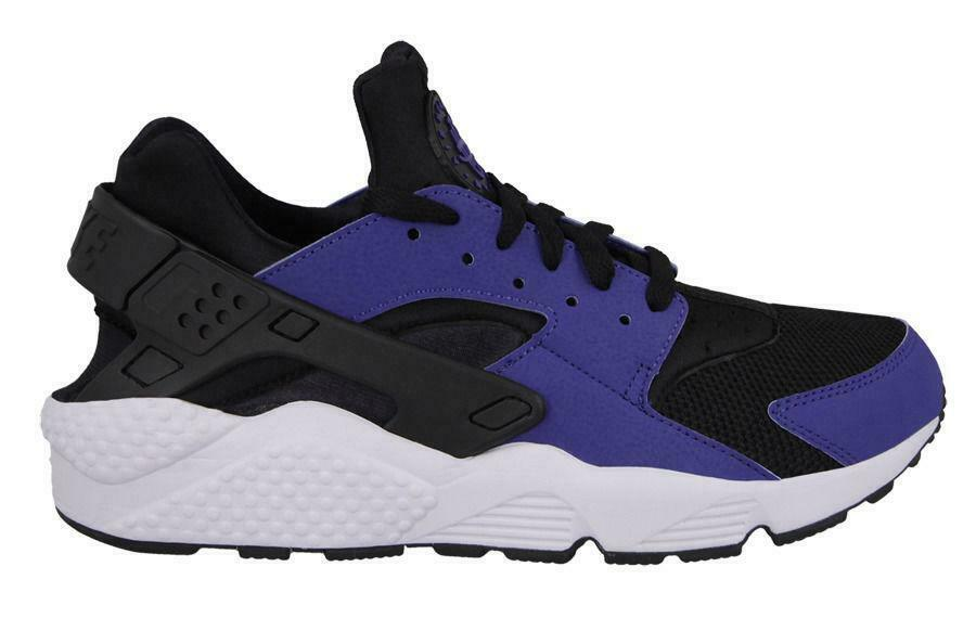 Mens NIKE AIR HUARACHE Black Deep Royal Textile Trainers 318429 411