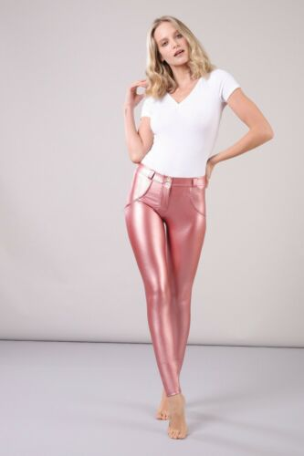 METALLIC FAUX LEATHER PINK FREDDY WR.UP® WOMEN PANTS SUPER SKINNY LOW RISE