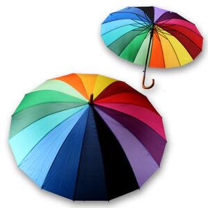 Schirm-Sturmsicher-Regenschirm-Sonnenschirm-Stockschirm-Partnerschirm-REGENBOGEN
