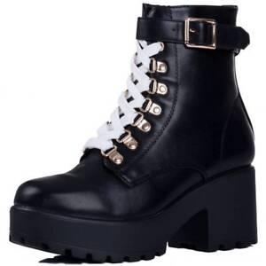 Para-Mujer-Grueso-Plataforma-Blanco-Negro-Con-Cordones-Botas-al-Tobillo-Zapatos-Taco-de-Bloque