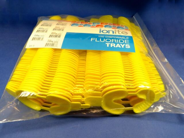Dental Disposable Yellow Small /100 Pcs Pack Fluoride Trays Dual Arch IONITE USA