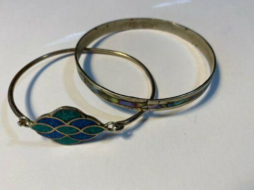 Details about  /2 Vintage Mexican Silver Bracelets Alpaca Enamel Inlaid Native American Style