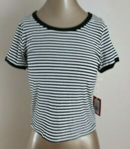 NWT Mossimo Womens Black /& White Striped Bandeau Top Size XS