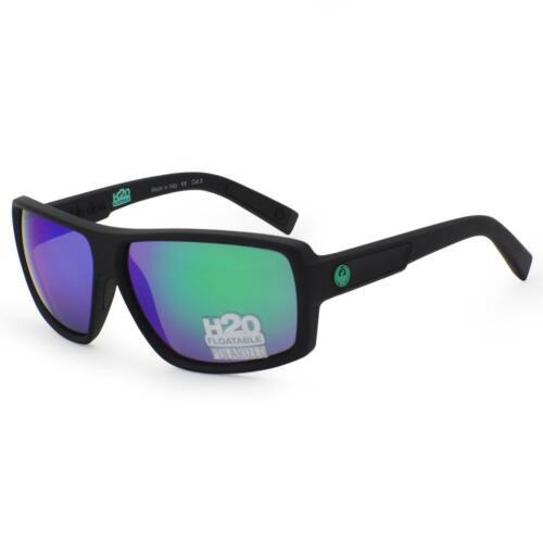 Dragon Polarized Double Dos Sunglasses Matte Black H2O Green Ion Lens 720-2293
