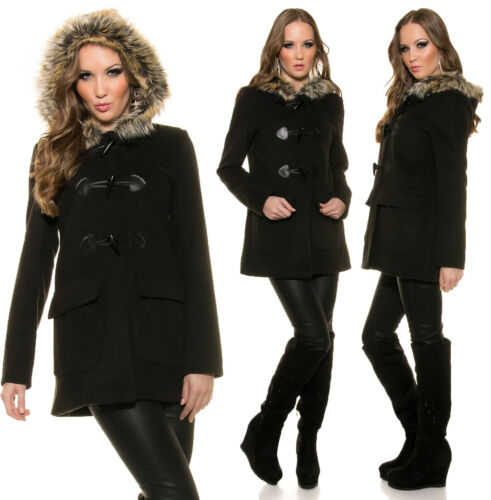 Damen Cabanjacke mit Kapuze Winter Mantel Sakko Jacke Schwarz Outdoor Kurzmantel