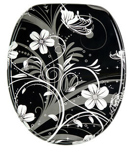 black and white toilet seat. Image is loading SOFT CLOSE PRINTED WC TOILET SEAT STABLE HINGES  SLOW