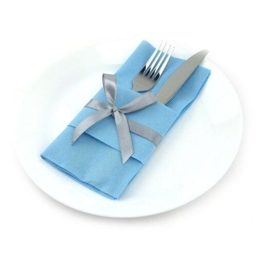 3D Servietten Sepkina Tischdeko Bestecktaschen Schleife S-BTS-0515 Hellblau blau