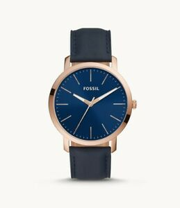 Bnew-FOSSIL-Luther-Three-Hand-Navy-Leather-Mens-Watch-NAVY