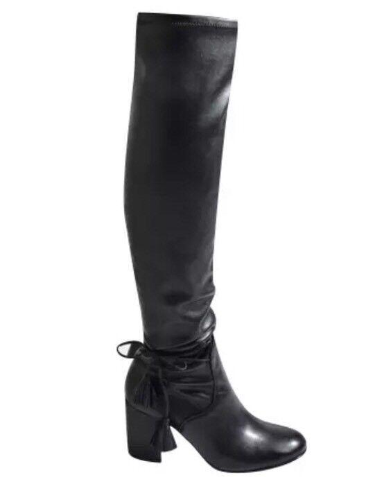 Rachel Zoe Women's Black Robin Tassel Wrap Leather Boots Sz 5 2616 *