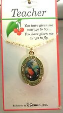 "Teacher ""You Have Given Me Wings To Fly"", Necklace, Gold Tone Chain, Made in USA"