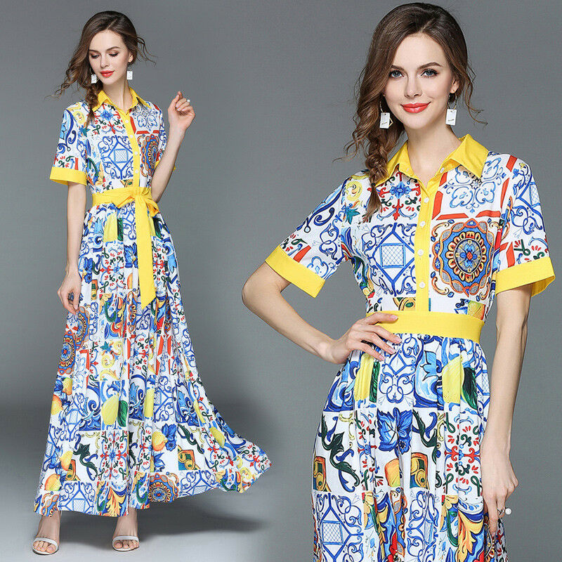 Occident women's fashion temperament turn-down collar Runway Mixed COlors Dress