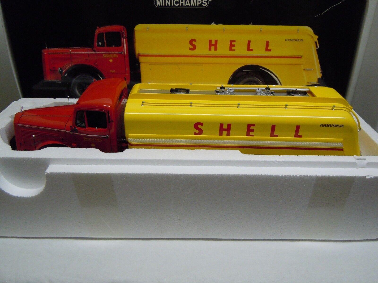 Minichamps 1 18 mercedes l 6600 camiones cisternas renntransporter shell hockenheim