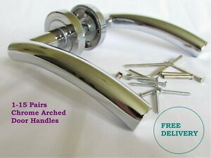 CHROME ARCHED INTERIOR Door Handles Arched Lever on Round Rose  D21